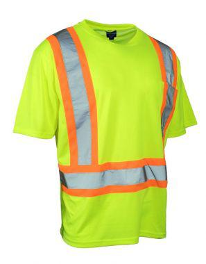 Forcefield Hi Vis Crew Neck Short Sleeve Safety Tee Shirt with Chest Pocket