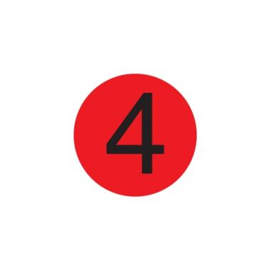 "Daymark® MoveMark™ Number 4 Label, Red, 3/4"" (2000/RL) - RFS1342/IT114839"