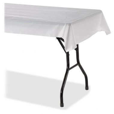 Genuine Joe Banquet-size Plastic Tablecover, White, 1/Roll