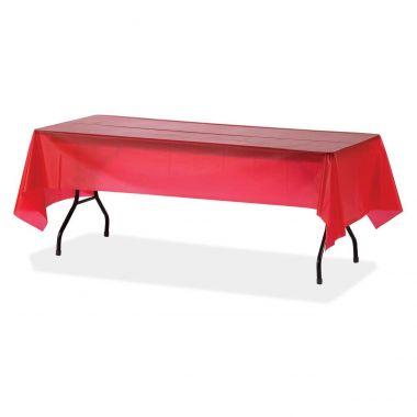 Genuine Joe Plastic Rectangular Table Covers, Red, 6/Pack