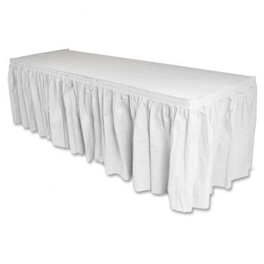 Genuine Joe Nonwoven Table Skirts Rectangular Table Skirt , White