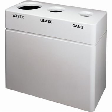 Plastiglas Industries 3 Station Recycling Centre, White, 55 Gallon Capacity