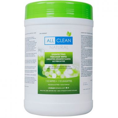 All Clean Natural Disinfecting Peroxide Wipes, Fragrance-Free, 110/PK