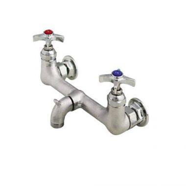 """T&S® Service Sink Faucet, Splash Mount, 8"""" Centers, 4-Arm Handles - RFS036/B-2480"""
