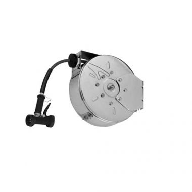 """T&S® Hose Reel System, Enclosed, Stainless Steel, 3/8"""" x 30 ft, W/ Rear Trigger Water Fun - RFS036/B-7122-C02"""