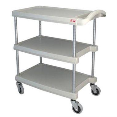 "Metro® myCart Series Polymer Utility Cart 3-Shelf, Gray, 16"" x 27""- RFS117/MY1627-34G"