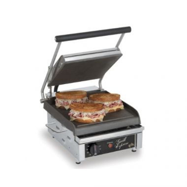 Sodir Panini Grill, Grooved Top & Bottom Plates - RFS361/MAJESTIC