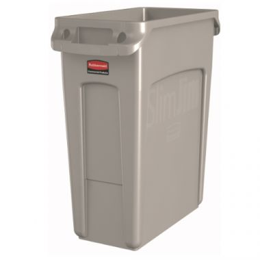 Rubbermaid® Slim Jim Vented Garbage Can, Beige, 16 Gal - RFS152/1971259
