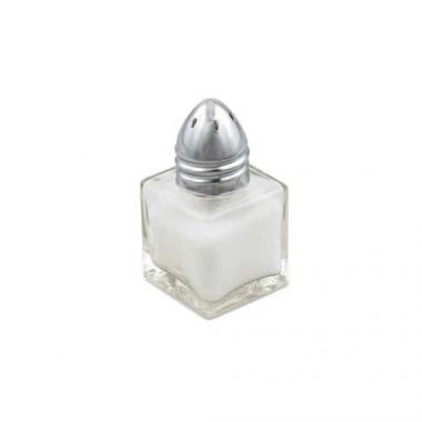 Browne® Square Glass Salt / Pepper Shaker w/ Chrome Top, 1/2 oz (2DZ) - RFS016/575191