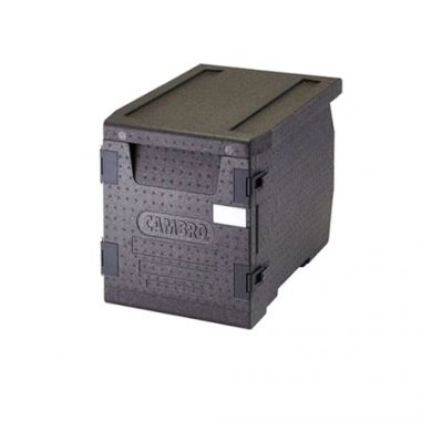 "Cambro® Cam GoBox™ Insulated Front-loading Food Pan Carrier, 300 Series, Black, 17.3"" x 18.7"" x 25.2""- RFS025/EPP300110"