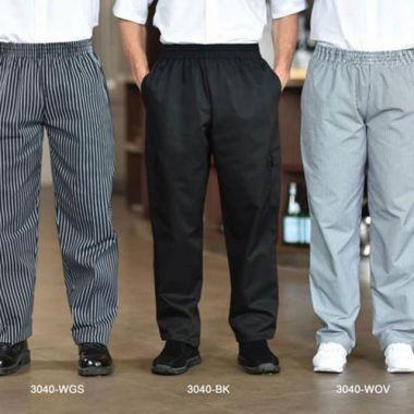 Premium Uniforms® Poly/Cotton Baggy Chef Pants, Black, XS - RFS274/3040(BLK-XS)