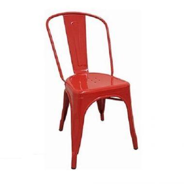 "Tolix® Side Chair, Metal, Red, 17.75"" x 20.75"" x 33.5"" - RFS161/JTX-800-RED"