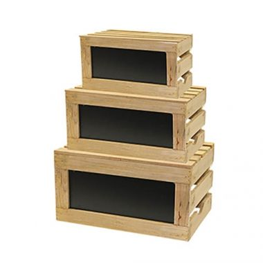 Tablecraft® Rustic Risers™ Nesting Display Crate Set w/ Chalkboard, Set of 3, Natural Wood - RFS558/RCBCRATE1