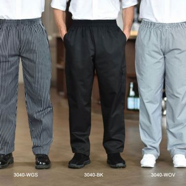 Premium Uniforms® Poly/Cotton Baggy Chef Pants, Woven Gangster Stripe, Large - RFS274/3040(GANGSTER-L)