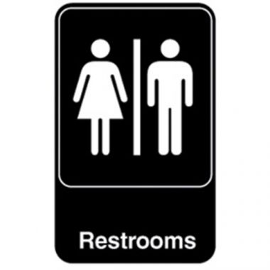"Vollrath® Restrooms Symbol Sign, Black/White, 9"" x 6"" - RFS1900/5617"
