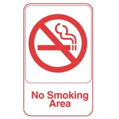 "Vollrath® No Smoking Area Symbol Sign, White with Red, 9"" x 6"" - RFS1900/5643"