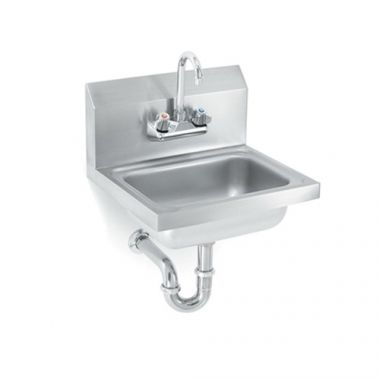 """Vollrath® Sink w/Strainer, Gooseneck Faucet and P-Trap, 17"""" x 15"""" - RFS1900/K1410-CP"""