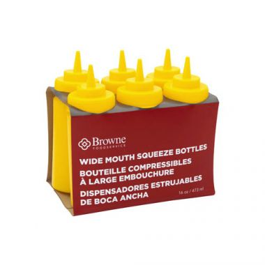 Browne® Wide Mouth Squeeze Bottle, Yellow, 16 oz (6PK) - RFS016/57801717