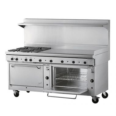 """Quest® Qgr-2 Series, Double Oven Range w/ 4 Burners and 48"""" Griddle, Propane, 72"""" - RFS2163/100-24OBFTO(LP)"""