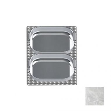 Tablecraft® Steam Table Pan Template / Adaptor Plate w/ 2 Rectangular Cutouts, Stainless Steel - RFS558/CW1036RSS