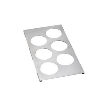 Tablecraft® Steam Table Pan Condiment Holder Template / Adaptor Plate w/ 6 Cutouts - RFS558/T6