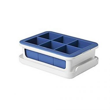 Danesco® Silicone Ice Cube Tray w/ Cover, 6 Cubes, Blue - RFS055/11154200G