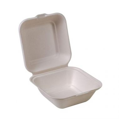 """Eco-Packaging® Compostable Sugarcane Clamshell Container, White, 5"""" x 5"""" (500/CS)- RFS3474/EP-55B"""