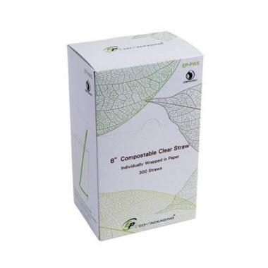 "Eco-Packaging® Compostable Milkshake Straws, Clear, 8"" (7200/CS)- RFS3474/EP-PWS"