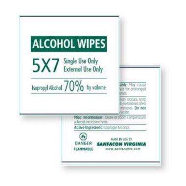 "Sanfacon® Single-use Disposable Moist Towelettes / Alcohol Wipes, 70% alcohol solution, 5"" x 7"" (1000/CS) - RFS2343/CS-D021951"