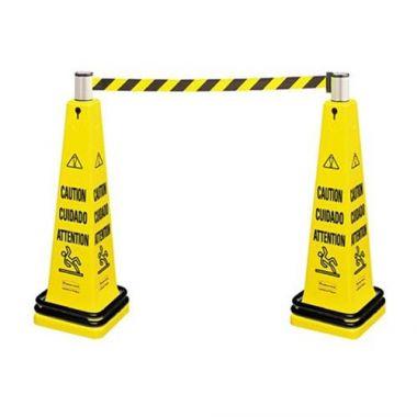 """Rubbermaid® Multilingual Floor Cone Barricade System (Eng/FR/SP), Yellow, 36"""" - RFS152/FG628700YEL"""