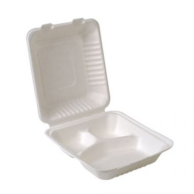 """Eco-Packaging® Compostable Hinged Sugarcane Clamshell Container w/ 3 Compartments, White, 8"""" x 8"""" (200/CS)- RFS3474/EP-A866"""