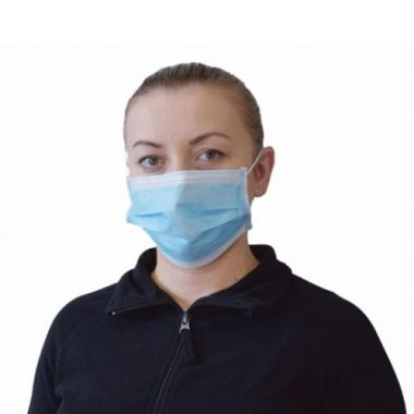 Globe Commercial Products® Procedural Face Mask, 3-Ply, Blue (50/PK) - RFS2215/7738