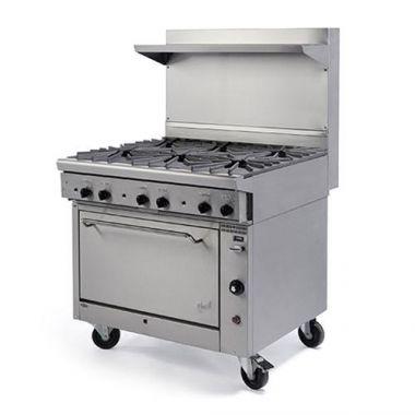 "Quest® Qgr-1 Series Single Oven Range w/ 6 Burners w/Casters, Natural Gas, 36""- RFS2163/100-16OBOOO(CST-NG)"