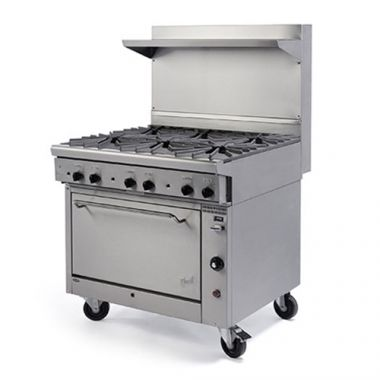 "Quest® Qgr-1 Series Single Oven Range w/ 6 Burners w/Casters, Propane, 36"" - RFS2163/100-16OBOOO(CST-LP)"