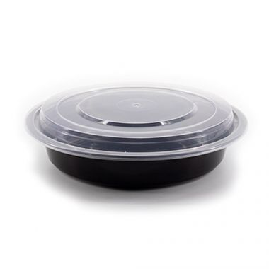 """Eco-Packaging® Recyclable Round Deli Container w/ Lid, Black, 8"""" (150/CS)- RFS3474/EP-1200CB"""
