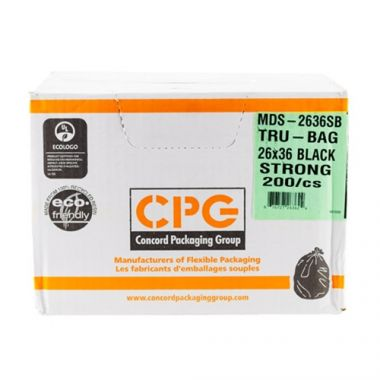 """Master Distribution Services™ Tru-Bags™ Garbage Bags, Black, Extra Strong, 26"""" x 36"""" (125/CS) - RFS464/CON-MDS2636XSB"""