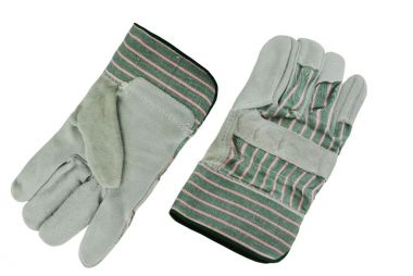 FULL PALM SPLIT LEATHER GLOVE - GREEN/RED STRIPED COTTON BACK