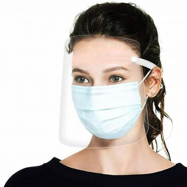 Protective Face Shield, Fully Transparent Face and Eye Protection from Droplets and Saliva with Reusable Shield