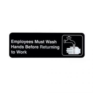 "Tablecraft® Employees Must Wash Hands Sign, Black / White, 3"" x 9"" - RFS558/394530"