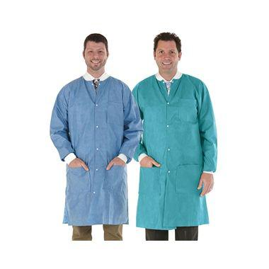 Medicom SafeWear Disposable Lab Coat, Soft Blue, Extra Large, 12/bag