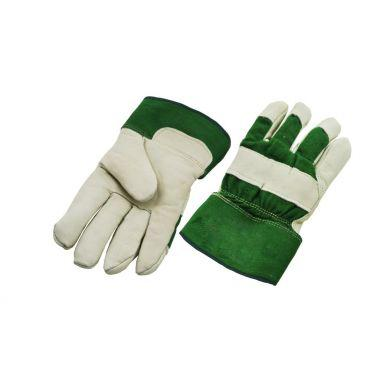 FULL PALM PILED LINING LEATHER WORK GLOVE - GREEN BACK