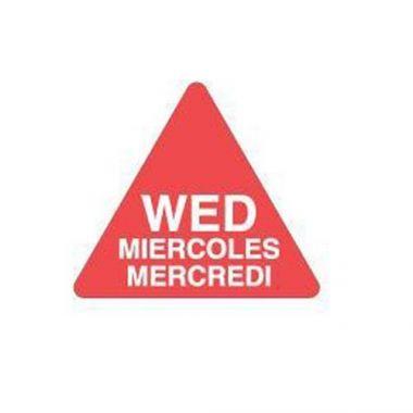 "Ecolab® Dissolvable Triangle Label, English/Spanish/French, Wednesday, 3/4"" - RFS240/10130-03-31"