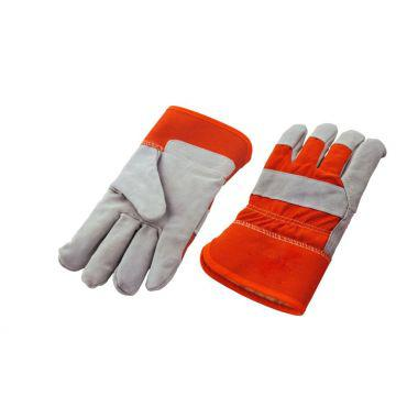SPLIT LEATHER GLOVE WITH BOA LINING - ORANGE