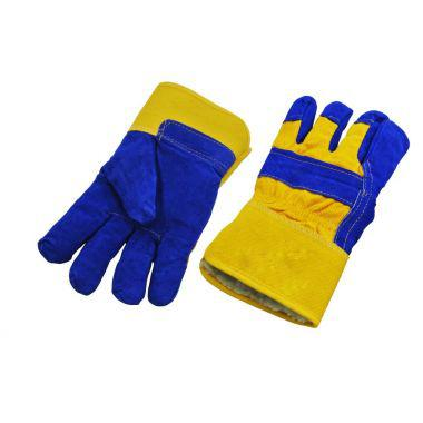 SPLIT LEATHER GLOVE WITH BOA LINING - BLUE/YELLOW