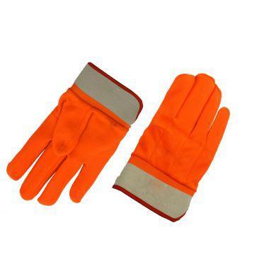 ORANGE PVC GLOVES WITH FULL LINING AND SAFETY CUFF