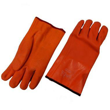 ORANGE PVC GLOVE WITH LINING - WATER RESISTANT