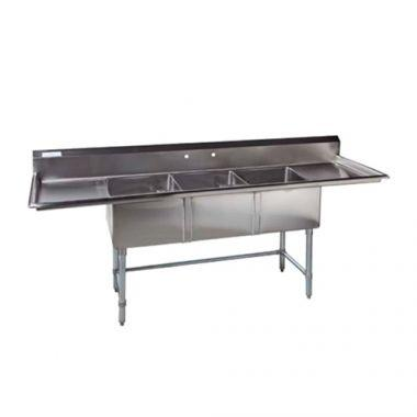 Tarrison® Stainless Steel Corner Drain Triple Pot Sink Left and Right Drainboard - RFS143/TA-CDS318LR