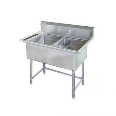 Tarrison® Stainless Steel Corner Drain Double Pot Sink No Drainboard - RFS143/TA-CDS218