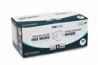 SSECARE Level 3 Medical Grade Disposable Mask Meets ASTM F2100-19 Level 3 Requirement - 50/Box - Made in Canada