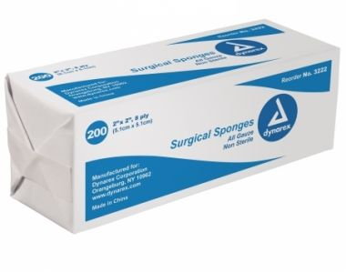 """2"""" X 2"""" NON-STERILE GAUZE PADS 8 PLY : BOX OF 200"""